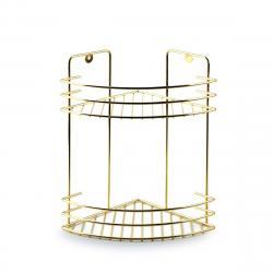 DekorStyle Nástěnná koupelnová polička Carl se 2 úrovněmi zlatá