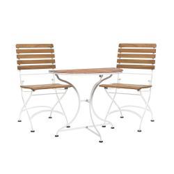 PARKLIFE Set venkovního nábytku 1 ks balkónový stůl a 2 ks židle - hnědá/bílá