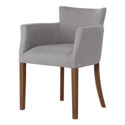 Šedá židle s tmavě hnědými nohami z bukového dřeva Ted Lapidus Maison Santal