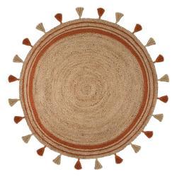 Hnědo-oranžový jutový koberec Flair Rugs Istanbul, ⌀ 150 cm