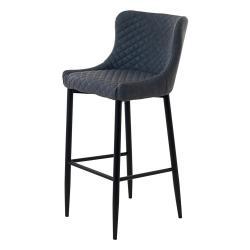 Šedá čalouněná dřevěná barová židle Unique Furniture Ottowa, výška 105 cm