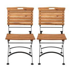 GARDEN STATE Skládací židle set 2 ks - hnědá/černá