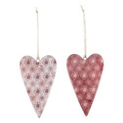 Sada 2 starorůžových kovových závěsných dekorací s motivem srdce Ego Dekor