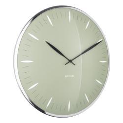 Zelené skleněné nástěnné hodiny Karlsson Leaf,ø40cm