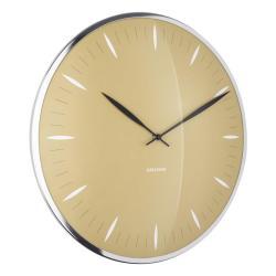 Hořčicově žluté skleněné nástěnné hodiny Karlsson Leaf,ø40cm