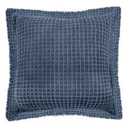 Modrý bavlněný dekorativní polštář Tiseco Home Studio Waffle,45x45cm