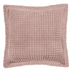 Růžový bavlněný dekorativní polštář Tiseco Home Studio Waffle,45x45cm