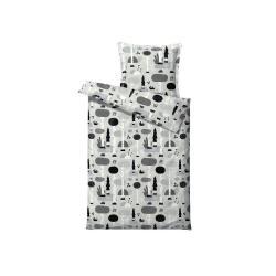 Černo-šedé dětské povlečení z ranforce bavlny Södahl Magic Forest,140x200cm