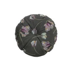 Tmavě šedý sametový polštář BePureHome Vogue, ø 45 cm