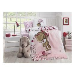 Dětský prošívaný bavlněný přehoz přes postel Baby Pique Pinkie, 95 x 145 cm