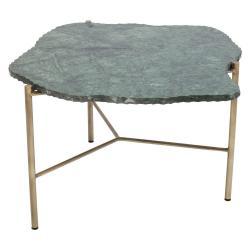Zelený konferenční stolek s mramorovou deskou Kare Design Piedra, 76 x 72 cm