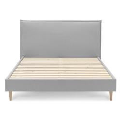 Šedá dvoulůžková postel Bobochic Paris Sary Light, 160 x 200 cm
