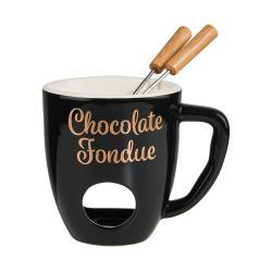 CHOCOLATE FONDUE Hrnek se 2 vidličkami - černá