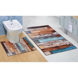 Bellatex Sada koupelnových predložek Dřevěná podlaha 3D , 60 x 100 cm, 60 x 50 cm