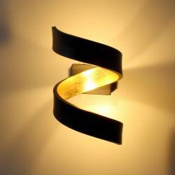 Eco-Light LED nástěnné světlo Helix, černo-zlaté, 17 cm