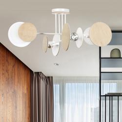 EMIBIG LIGHTING Stropní světlo Zita 4 s dřevěným dekorem, bílá
