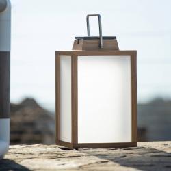 LES JARDINS LED solární lucerna Tradition z teaku, výška 40 cm