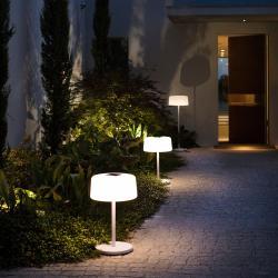 LES JARDINS Solární stojací lampa Bump, 3 výšky, senzor, bílá