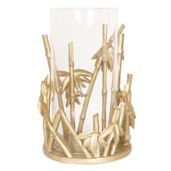 Skleněný svícen na čajovou svíčku Zlatý bambus- ∅ 18*26 cm