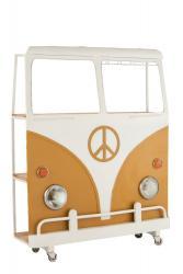 J-Line by Jolipa Bar s vinotékou okrové auto Hippie na kolečkách - 137*41*175 cm