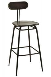 J-Line by Jolipa Černá kovová barová stolička s opěrkou Industrial - 45*46* 104cm