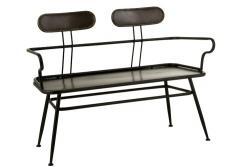 J-Line by Jolipa Černá kovová lavice s opěrkami Industrial - 116*55*88cm
