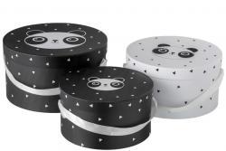 J-Line by Jolipa Sada 3papírových kulatých boxů Panda  - Ø32*18cm