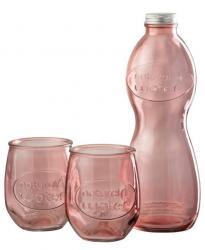 J-Line by Jolipa Růžová skleněná láhev a 2skleničky Natural - Ø 10*26cm