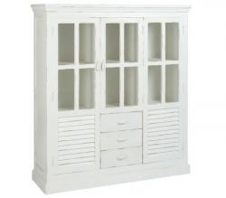 J-Line by Jolipa Bílá dřevěná policová skříň s patinou Manzi - 145*45*160 cm