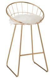 J-Line by Jolipa Zlatá kovová barová stolička Charlotte gold  - 52*51*100cm