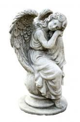 Pierre Design Zahradní betonová dekorace sedící anděl na kouli - 19*17*36cm