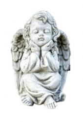 Pierre Design Zahradní betonová dekorace sedící anděl - 15*16*21cm