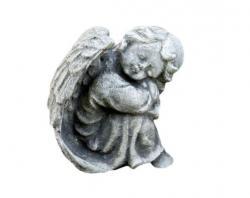 Pierre Design Zahradní betonová dekorace sedící anděl - 12*13*14cm