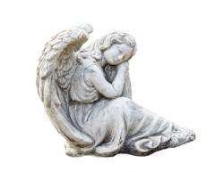 Pierre Design Zahradní betonová dekorace sedící anděl Gabriel - 21*24*24cm
