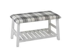 J-Line by Jolipa Bílá dřevěná lavice s textilním sedákem Matte - 80*40*44cm