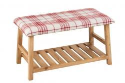 J-Line by Jolipa Přírodní dřevěná lavice s textilním sedákem Matte - 80*40*46cm