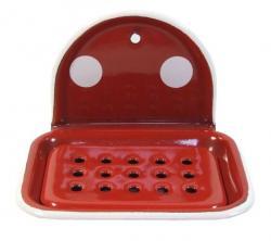 Münder Email Červená smaltovaná mýdlenka s puntíky Red dot - 13*10*9cm