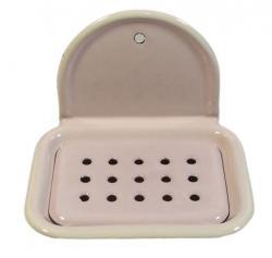 Münder Email Růžová smaltovaná nástěnná mýdlenka Pink dot - 13*10cm