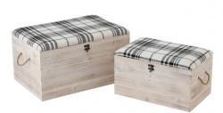 J-Line by Jolipa Sada 2x bílá dřevěná truhla s textilním sedákem Matte - 60*40*34cm