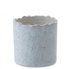 J-Line by Jolipa Modrý keramický květináč s nepravidelným okrajem - Ø16*16 cm