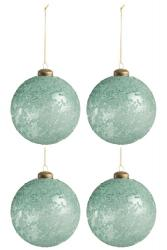 J-Line by Jolipa 4ks vánoční skleněná zelená ozdoba - Ø 10 cm