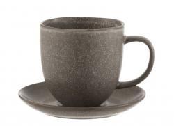 J-Line by Jolipa Šedo-hnědý keramický šálek s podšálkem Louise taupe - 12*9*9.5cm