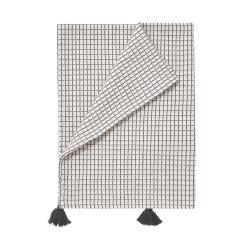 VISBY Utěrka s třásněmi 70 cm - přírodní/černá