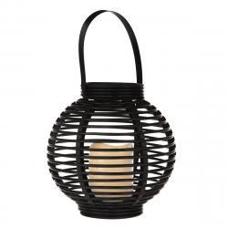 Lucerna s LED svíčkou Lucida, černá, 22 x 21 x 22 cm