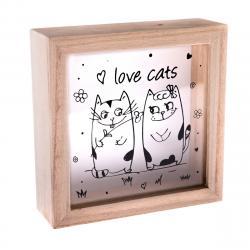 Dřevěná kasička Love Cats, 15x 15 x 5 cm