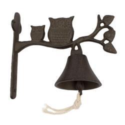 Litinový zvonek Sovy, 17 x 18,5 x 8,5 cm