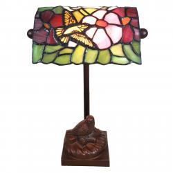 Clayre & Eef Stolní lampa 6008, styl Tiffany ptačí motiv
