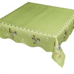 Forbyt Velikonoční ubrus Slepičky zelená, 85 x 85 cm