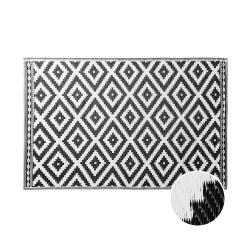 COLOUR CLASH Vnitřní a venkovní koberec kosočtverce 180 x 120 cm - černá/bílá