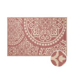 COLOUR CLASH Vnitřní a venkovní koberec květiny 180 x 120 cm - sv. červená/krémová